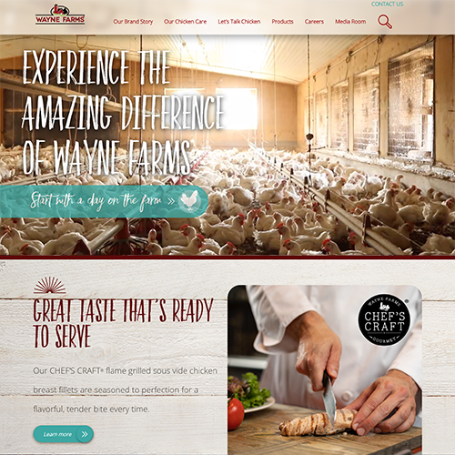 Wayne Farms' Upgraded Website Reflects Company's Expanding Market Footprint